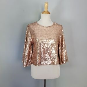 Lulus Captivate Rose Gold Sequin Crop Top Small